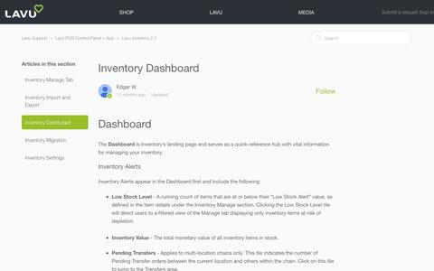 Screenshot of Support Page lavu.com - Inventory Dashboard – Lavu Support - captured Oct. 9, 2018