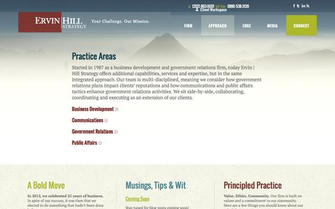 Screenshot of Case Studies Page ervinhillstrategy.com - Ervin | Hill Strategy Practice Areas - captured Oct. 28, 2014