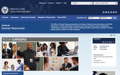 Screenshot of Jobs Page ncua.gov - Office of Human Resources - captured Oct. 20, 2018