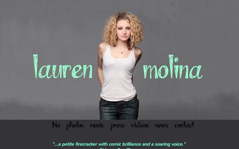 Screenshot of Home Page laurenmolina.com - Lauren Molina - Actress, Musician, Singer - captured Oct. 8, 2015