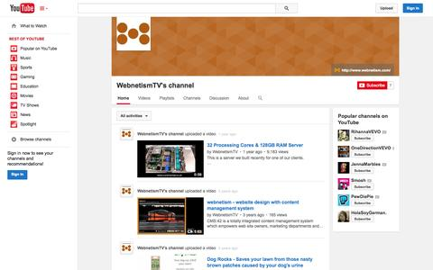 Screenshot of YouTube Page youtube.com - WebnetismTV's channel  - YouTube - captured Oct. 29, 2014