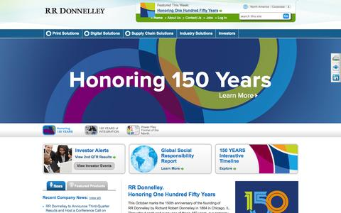 Screenshot of Home Page rrdonnelley.com - Print, Digital and Supply Chain Solutions | RR Donnelley - captured Oct. 10, 2014