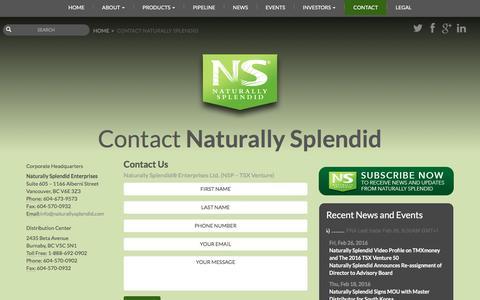 Screenshot of Contact Page naturallysplendid.com - Contact Naturally Splendid | Naturally Splendid, Inc. - captured Feb. 28, 2016