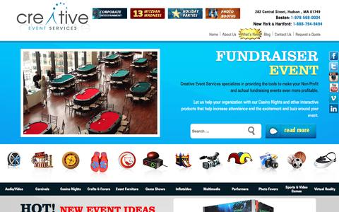 Screenshot of Home Page creativeeventservices.com - Party Entertainment: Boston, Hartford, New York | Creative Event Services - captured July 18, 2019
