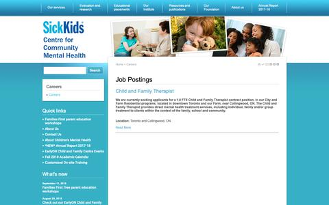 Screenshot of Jobs Page sickkidscmh.ca - Careers | SickKids Centre for Community Mental Health - captured Oct. 18, 2018