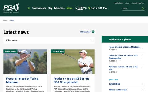 Screenshot of Press Page pga.org.au - News - PGA - captured Feb. 20, 2018