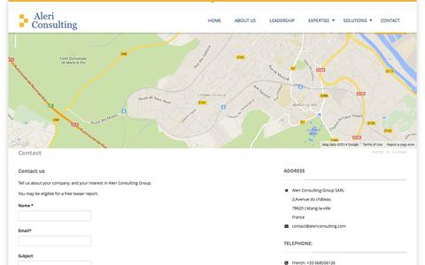 Screenshot of Contact Page alericonsulting.com - Contact - Aleri Consulting Group SARL - captured Oct. 4, 2014