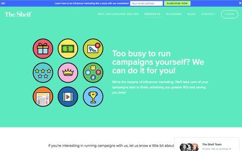 Screenshot of Services Page theshelf.com - Blogger Campaign Services Ń The Shelf - captured Nov. 17, 2015