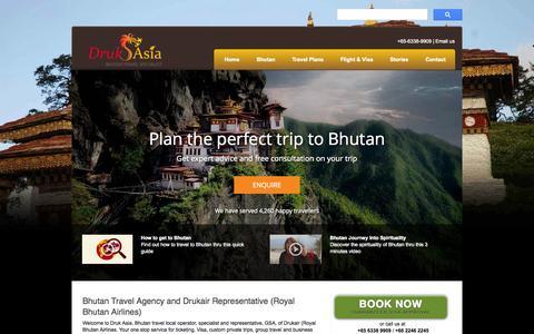 Screenshot of Home Page drukasia.com - Druk Asia | Bhutan Travel & Tour Agency | Drukair Rep - captured Oct. 5, 2014