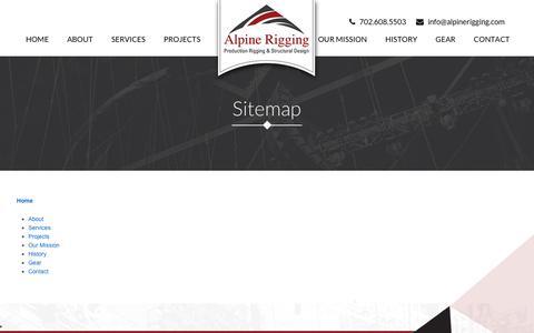 Screenshot of Site Map Page alpinerigging.com - Sitemap – Alpine Rigging - captured Oct. 8, 2017