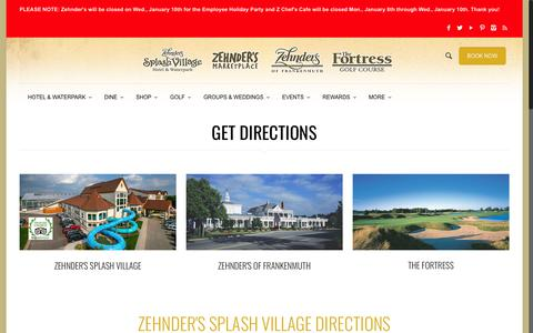 Screenshot of Maps & Directions Page zehnders.com - The Fortress Golf Course   Directions   Frankenmuth, MI   Zehnder's of Frankenmuth - captured Jan. 8, 2018