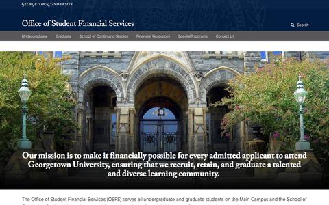 Office of Student Financial Services | Georgetown University