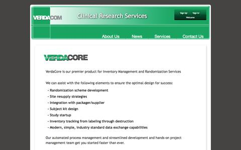 Screenshot of Services Page verdacom.com - Verdacom | IMRS - captured Oct. 26, 2014
