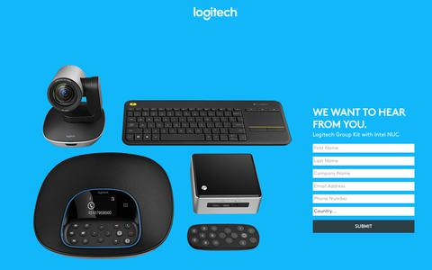 Screenshot of Landing Page logitech.com - Logitech Group Kit with Intel NUC | Contact Us - captured July 23, 2017