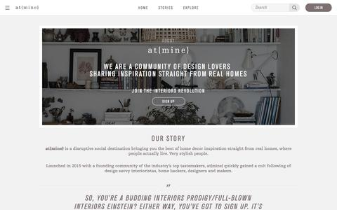 Screenshot of About Page atmine.com - Living Room Ideas | Bedroom Decorating Ideas | at{mine} - captured July 27, 2016