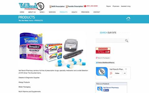Screenshot of Products Page vailranchpharmacy.com - Pharmacy Products, Full Range of Prescription Drugs and Over The Counter Products, Diabetic Supplies, Multi-Vitamins and Supplements, Allergy Products - captured Oct. 9, 2014