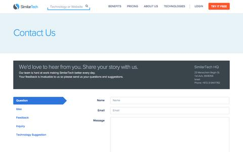 Screenshot of Contact Page similartech.com - Contact SimilarTech - captured Sept. 23, 2014
