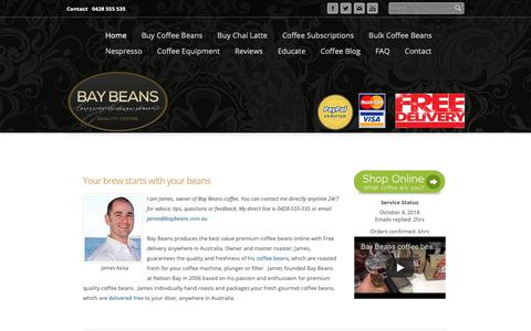 Screenshot of Home Page baybeans.com.au - Buy Coffee Beans Online  |  BAY BEANS - captured Oct. 5, 2018