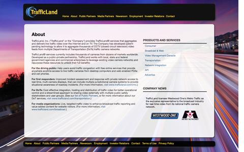 Screenshot of About Page trafficland.com - About    TrafficLand, Inc. - captured Feb. 11, 2016