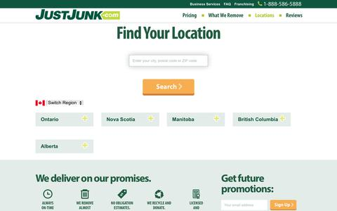 Screenshot of Locations Page justjunk.com - Junk Removal Services in Canada | JUSTJUNK® | Pickup, Disposal, Recycling Today! - captured June 8, 2017