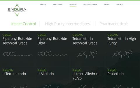 Screenshot of Products Page endura.it - Insect Control | Endura - captured Nov. 7, 2016
