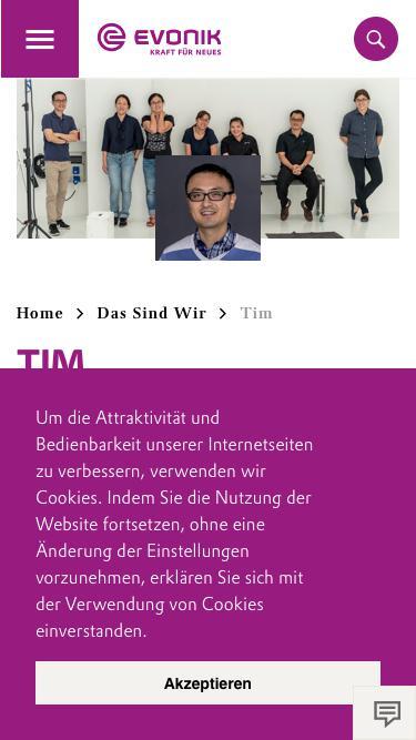 Screenshot of Team Page  evonik.com - Tim                                                                - Evonik Careers