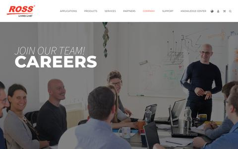 Screenshot of Jobs Page rossvideo.com - Careers | Company | Ross Video - captured April 5, 2019