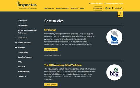 Screenshot of Case Studies Page inspectas.co.uk - Case study Archive - Inspectas - captured Oct. 15, 2017