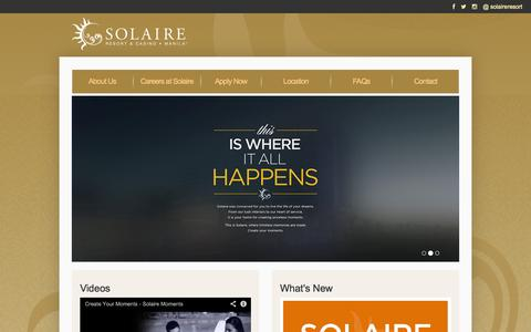 Screenshot of Jobs Page solaireresort.com - Jobs and careers in Solaire Resort and Casino Manila Philippines - captured Sept. 19, 2014