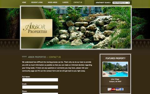 Screenshot of Contact Page arborproperties.com - ARBOR PROPERTIES :: Welcome - captured Sept. 23, 2014