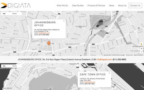Screenshot of Contact Page Locations Page digiata.com - Contact Us - Digiata - captured June 4, 2017
