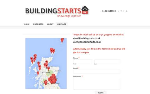 Screenshot of Contact Page buildingstarts.co.uk - Building Starts | Construction Leads Scotland | Contact Us - Building Starts - captured Oct. 5, 2014