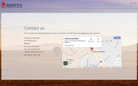 Screenshot of Contact Page assortis.com captured July 26, 2016