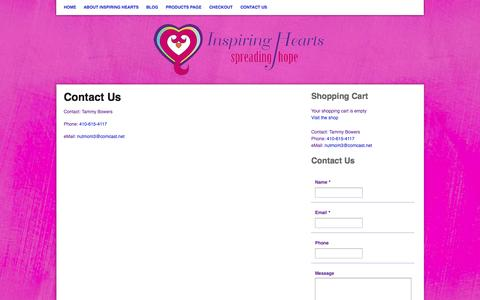Screenshot of Contact Page inspiringhearts.net - Inspiring Hearts unique gifts that are personal and memorable for you, your clients, your business, or for that special someone   Contact Us - captured Oct. 26, 2014