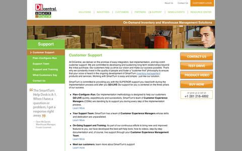 Screenshot of Support Page smartturn.com - On Demand Inventory and Warehouse Management Solutions - SmartTurn Customer Support - captured Sept. 12, 2014