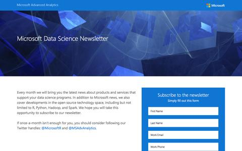 Screenshot of Landing Page microsoft.com - Microsoft Data Science Newsletter - captured Feb. 25, 2017