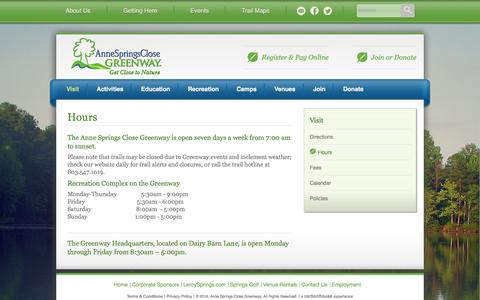 Screenshot of Hours Page ascgreenway.org - Hours | Anne Springs Close Greenway - captured May 2, 2016