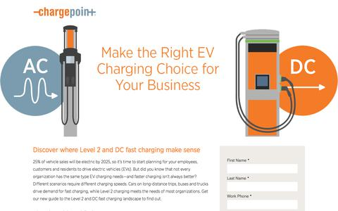 Screenshot of Landing Page chargepoint.com - Level 2 or DC fast Car Charging - captured Sept. 19, 2018