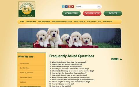 Screenshot of FAQ Page newhorizonsservicedogs.org - Frequently Asked Questions - captured Oct. 7, 2014