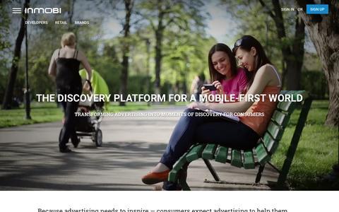 Screenshot of Home Page inmobi.com - InMobi | Mobile Discovery Commerce | Monetization | Advertising - captured Feb. 23, 2016