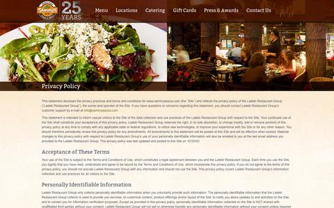Screenshot of Privacy Page sammyspizza.com - Privacy Policy - Sammy's Woodfired Pizza and GrillSammy's Woodfired Pizza and Grill ‹ Healthy Global Cuisine™ - captured Sept. 25, 2014