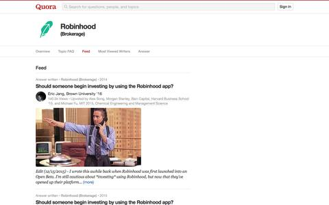 Topic Feed in Robinhood (Brokerage) - Quora