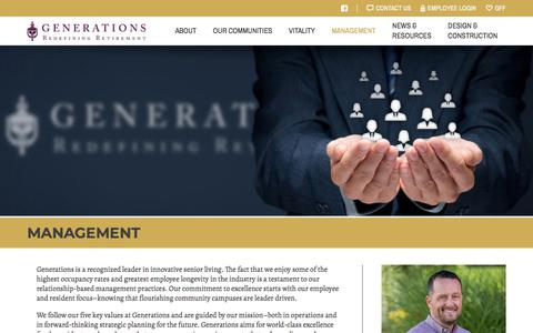 Screenshot of Team Page generationsllc.com - Senior Living Management and Management Practices: Generations - captured July 17, 2018