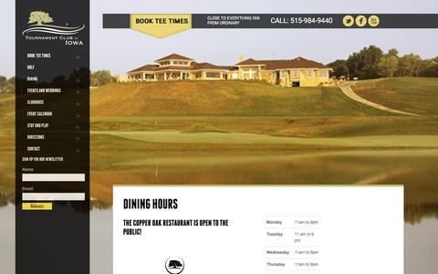 Screenshot of Hours Page tcofiowa.com - Copper Oak Grill | Dining Hours | Tournament Club of Iowa tcofiowa - captured April 27, 2017