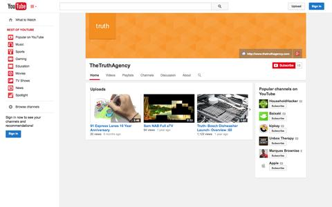 Screenshot of YouTube Page youtube.com - TheTruthAgency  - YouTube - captured Nov. 5, 2014