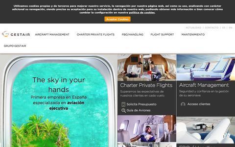 Screenshot of Home Page gestair.com - Aviación ejecutiva | Aviación privada | Gestair - captured July 20, 2015