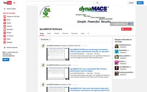 Screenshot of YouTube Page youtube.com - dynaMACS Software  - YouTube - captured Oct. 23, 2014