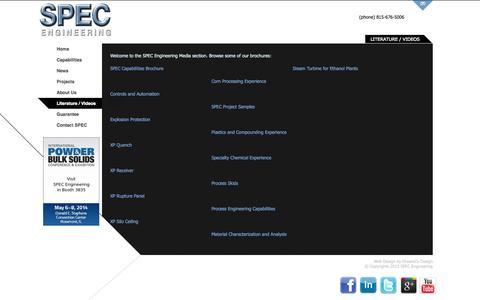Screenshot of Press Page specengsys.com - SPEC Capabilities Literature | SPEC Engineering - captured Oct. 1, 2014