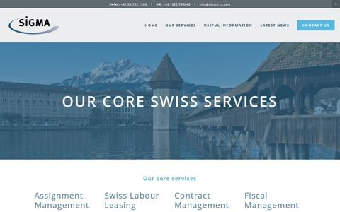 Screenshot of Services Page sigma-cs.com - Swiss Services — Sigma Management International - captured Oct. 18, 2018