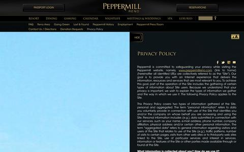 Screenshot of Privacy Page peppermillreno.com - Privacy Policy | Peppermill Resort Spa Casino, Reno, Nevada - captured Sept. 24, 2014